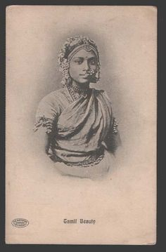 Tamil Beautiful Girl - Vintage Postcard - Old Indian Photos History Of India, Art History, Vintage India, Retro Vintage, Indian Heritage, Orient, Vintage Pictures, Vintage Photographs, Indian Art