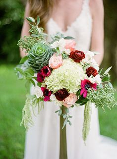 unexpected bohemian bridal bouquet | Lanson B. Jones Floral + Events | Megan Chandler floral designer | Kelli Durham Photography