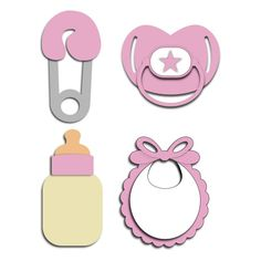 Cutting File ~~ Baby Accessories ~~ Nappy Pin - Dummy - Bib - Baby Bottle. ~~ Format - SVG, DXF and Silhouette studio ~~ File size - 200 kb ~~ £1