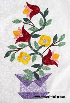 Free Flower Applique Patterns | The Quilt Ladies Book Collection: An Applique Basket of Flowers