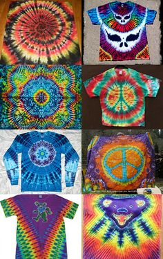 Awesome tiedyes by members of the Deadhead Art Alliance on Etsy. Check out…