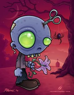 Cartoon illustration of a young zombie holding a lily with a pair of scissors stuck in his head. They always told him don't run with scissors, but he didn't listen. Great for Halloween! Zombie Drawings, Cartoon Drawings, Cool Drawings, Halloween Drawings, Cartoon Art, Arte Zombie, Zombie Art, Funny Zombie, Zombie Survival Guide
