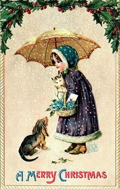 Merry Christmas Girl, Cat, Dog, Umbrella