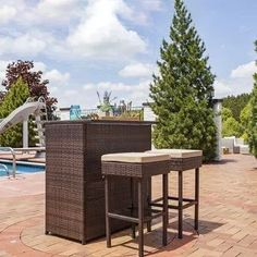 Sunnydaze Melindi 3 Piece Wicker Rattan Outdoor Patio Bar Set with Tan Cushions, Brown, Patio Furniture (Glass) Outdoor Tiki Bar, Outdoor Patio Bar Sets, Outdoor Cushions, Outdoor Dining, Wicker Patio Furniture Sets, Wicker Sofa, Wicker Bar Stools, The Fresh, Just For You