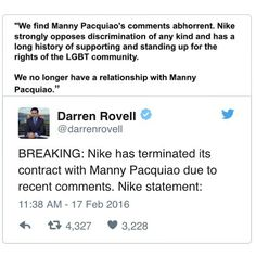 Proud of @nike for standing up for the rights and fair treatment of all people! @nikebasketball @nikesb @nikesportswear  #gay #lesbian #lgbt #lgbtq #mannypacquiao #equality #respect #sponsor #sports #tweet #boxing #civilrights #justice #instagay #gayguy #animal #bekind #dogood #colorful #color #meme #vice #vscocam #vsco #instadaily #instagood #igdaily #instacool #igers