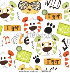 seamless pattern with tiger vector illustration
