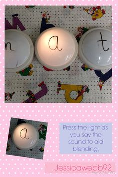 Phonics blending lights. Press the light as you say a sound to aid blending for reading. EYFS