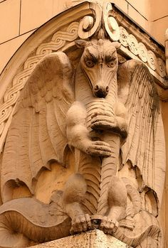 Example of Art Nouveau in Riga  :  These scary beasts that you see on old buildings and even old churches are to frighten away bad spirits.