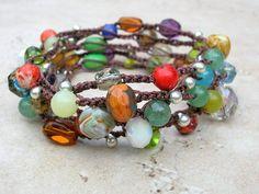 Gypsy Boho crochet wrap bracelet, Bohemian crochet jewelry, Tribal crochet necklace, colorful earthy, czech glass, gemstones