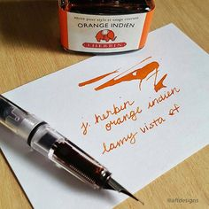 Just a fun little peek of some ink I'm #currently writing with. Orange  Indien in a @lamy_official safari with extra fine nib. What color are you scribbling in today? #mondaymatchupgiveaway #penandink @gouletpens