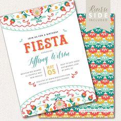 Fiesta Birthday Invitation, Mexican Invite Printable, Cumpleanos Fiesta Invitation