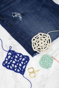 Give your jeans a boho facelift! Learn how to patch jeans with crochet lace in this simple tutorial.