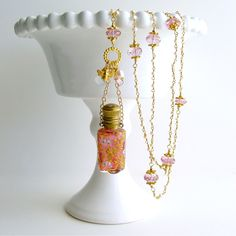 #2 Patience Necklace – Cranberry Chatalaine Scent Bottle Pearls Pink Topaz