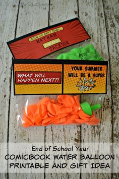 This is a fun idea for an End of School Year Gift for kids in your child's class. The fun comicbook theme is a fun design. #free #printable