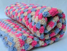 Peach blossom crochet baby blanket granny square door ValkinThreads2, $64,00