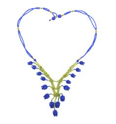 Bluebell Necklace blue and green