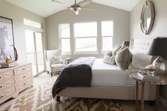 Great use of neutral tones gives this room a calming effect. Great for either a master bedroom or even a guest room.