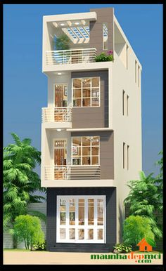 House G anesh House Outer Design, House Front Design, Small House Design, Narrow House Designs, Narrow House Plans, 3 Storey House Design, Bungalow House Design, House Elevation, Modern Architecture House