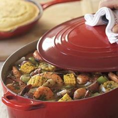 Frogmore Stew - Mom, this one's for you. A delicious example of South Carolinas low-country cooking, Frogmore stew is named for a tiny town on the coastal island of St. Helena. The flavorful one-pot dish, reputedly created in the 1950s by a local shrimp fisherman, calls for shrimp, corn on the cob, smoked sausage and new potatoes steamed in a savory broth.