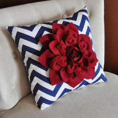 Red, White & Blue Zig-Zag Throw Pillow | Chic 4th of July Decorations | The Stir