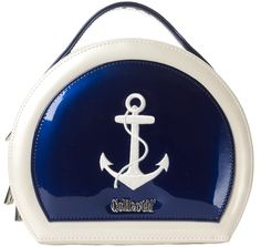 COLLECTIF SAILOR VANITY NAVY Set sail for blue waters! This blue and white nautical bag is made of high quality vinyl, with an embroidered anchor and Collectif hardware on the front. It can be carried with the top handle, or worn as a crossbody or shoulder bag with the removable strap. $65.00 #collectif #purse #nautical #anchor #pinup