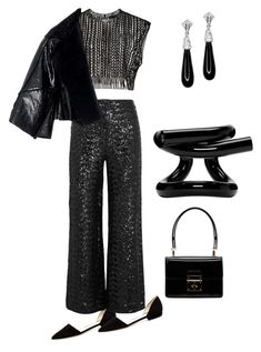 """""""All black#2"""" by anet-ko on Polyvore featuring Giorgio Armani, Roland Mouret, Dolce&Gabbana, Proenza Schouler and Kenneth Jay Lane"""