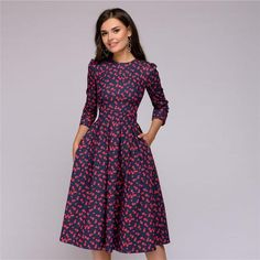 Womens Dresses New Arrival 2018 Fall Casual Printing Party Dress 8fc772b20cc2