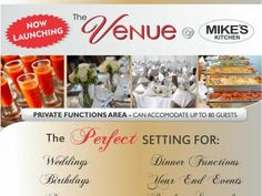 Mikes Kitchen Lambton - The Perfect Setting for Weddings, Birthdays, Parties, Engagements, Anniversaries Engagements, Birthdays, Product Launch, Parties, Weddings, Dinner, Kitchen, Food, Fiestas