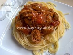 ΣΠΑΓΓΕΤΙΝΙ ΜΕ ΣΑΛΤΣΑ ΤΟΝΟΥ Seafood, Spaghetti, Pasta, Yummy Yummy, Ethnic Recipes, Crafts, Creative Crafts, Handmade Crafts, Noodles