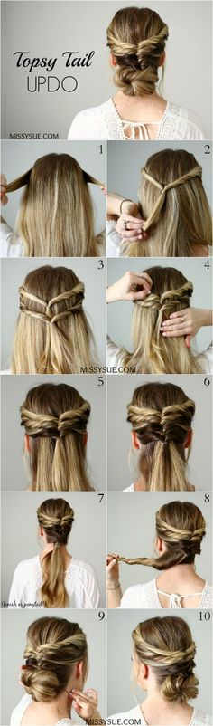 Easy Updo Hairstyles For Medium Long Hair Tutorial – - Hair Styles For School Prom Hairstyles For Short Hair, Easy Updo Hairstyles, Back To School Hairstyles, Pretty Hairstyles, Straight Hairstyles, Step Hairstyle, Hairstyle Tutorials, Hairdos, Hairstyle Ideas
