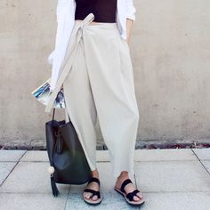 Inso custom summer yard and wind linen linen large yards asymmetrical loose wide leg Harlan pants