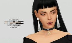 Marigold's Big Tassel Earrings Retextures by Catsblob for The Sims 4