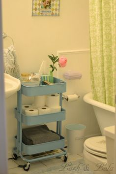 storage ideas for a small bathroom for makeup, toilet paper and towels using the ikea raskog cart in teal