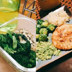 My lunch then dinner today! Lunch was just simple chicken breast with steamed broccoli and dinner was a @traderjoesfood salmon burger with avocado, Brussels sprouts and sauerkraut:) yum! I'm lowering my carbs and increasing fat so I'll probably be posting mostly low carb meals like this  (I miss carbs) #healthy #healthydiet #cutting #lågkalori #salmonburger #guacamole #sauerkraut #foodisfuel #iffym #lowcarb #lowcal