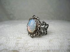 Ring  White Opal Ring   Silver Ring  Vintage by TwystedCreations, $16.95