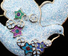 HASKELL PURPLE GREEN WHITE GLITTER PEACE SYMBOL STAR FLYING DOVE BIRD PIN BROOCH #Unbranded