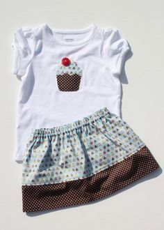 FREE Cupcake Applique Shirt & Matching Skirt Sewing Pattern and Tutorial