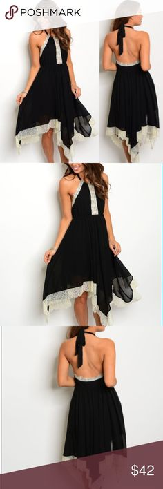 """Sassy Sleeveless lace detail asymmetric hem dress. Sassy Black Sleeveless contrasting lace detail asymmetric hem dress. Fabric Content: 100% POLYESTER Size Scale: S-M-L Size Ratio: Bundle Ratio: 3-2-1 Description: L: 45"""" B: 30"""" W: 40"""" Dresses Midi"""