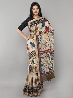 Off White Multi Color Chanderi Hand Painted Kalamkari Saree