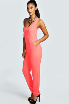 Boohoo.com one shoulder jumpsuite Playsuits, Catsuit, Online Shopping Clothes, Boohoo, Fashion Online, One Shoulder, Jumpsuit, Dresses, Women