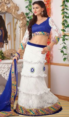 White Jacquard and Net Lehenga Choli Price: Usa Dollar $155, British UK Pound £91, Euro114, Canada CA$167 , Indian Rs8370.