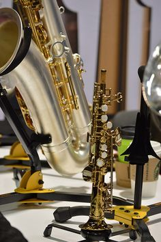 Ever wonder how small a saxophone can be? This is a Soprillo Sax sitting in front of a tenor saxophone - perspective.