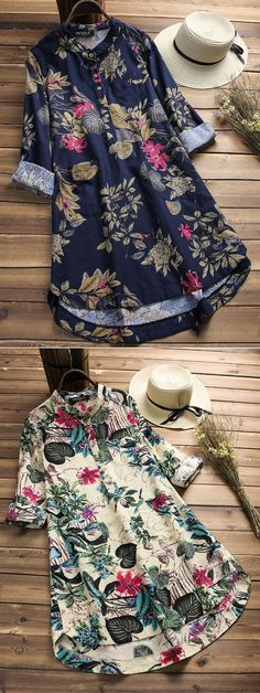 Women Floral Printed Stand Collar Mid-Long Vintage Blouses look not only special, but also they always show ladies' glamour perfectly and bring surprise. Kurta Designs, Blouse Designs, Sewing Clothes Women, Clothes For Women, Boho Outfits, Casual Outfits, Hijab Fashion, Fashion Dresses, Mode Boho