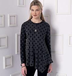 New from Marcy Tilton for Vogue Patterns. Tunic sewing pattern with seam and hemline variations. V9130, Misses' Top
