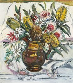 Margaret Preston, Still life with bush flowers in lustreware jug 1959