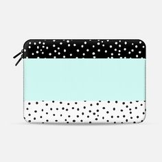 Black white teal watercolor polka dots pattern