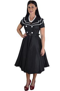 Vintage Design 60's Sailor Black Satin Flare Swing Dress.. Family photo