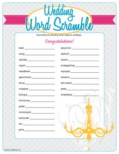 Wedding Word Scramble