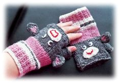 Knitted Sock Monkey Fingerless Coffee Gripper Mitts Free download from Ravelry by Alli Barrett