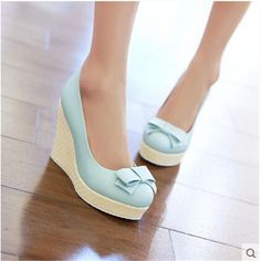 Bow Women High Heels Wedding Single Shoes 2015 Woman Wedges Wedge Casual Less Platform Pumps Sweet Multi Colored Cute